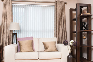 Curtains, sofa and bookshelf