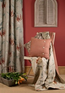 curtains, chair and cushions